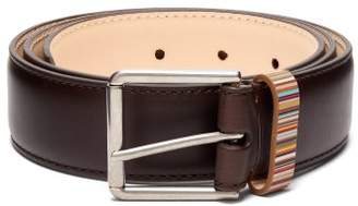 Paul Smith - Signature Stripe Keeper Leather Belt - Mens - Brown