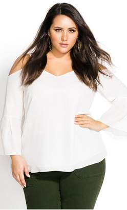 City Chic Citychic Simple Bell Top - cream