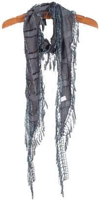 MEbox Womens Cool Lightweight Small Cotton Tassel Neck Scarf Wrap Denim Blue