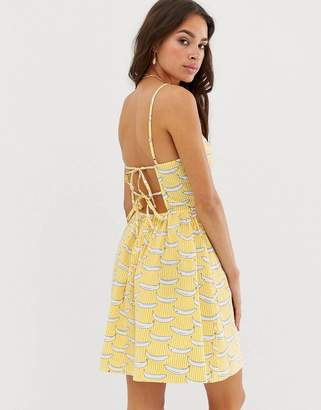 Glamorous cami dress with tie back in banana stripe