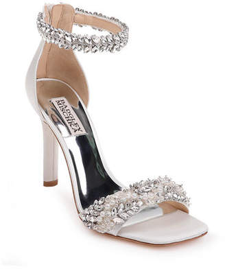 Badgley Mischka Fiorenza Embellished Satin Ankle-Wrap Sandals