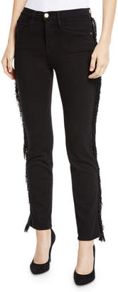 Frame Le High Straight Ankle Jeans with Fringe