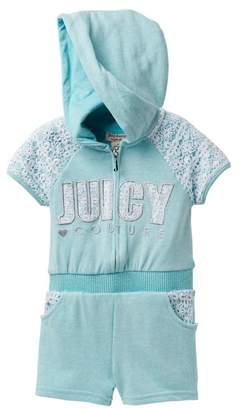 Juicy Couture Mint Crochet Lace Accent Hooded Terry Romper (Little Girls)