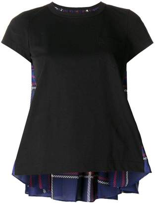 Sacai plaid back panel T-shirt