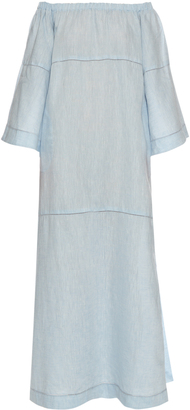 LISA MARIE FERNANDEZ Off-the-shoulder linen dress $775 thestylecure.com