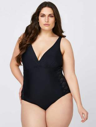 One-Piece Swimsuit with Mesh Inserts - Sea