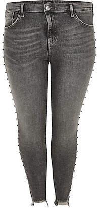 River Island Plus dark grey Amelie stud embellished jeans