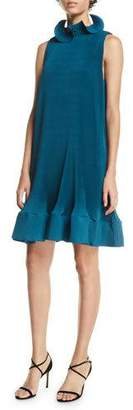 Tibi Pleating Short Sleeveless Dress