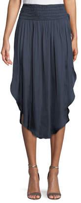 Halston Ruched-Waist Flowy Midi Skirt