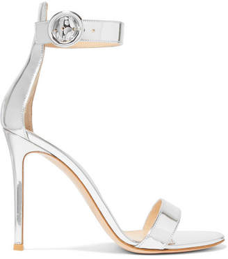 Gianvito Rossi Portofino 105 Metallic Leather Sandals - Silver