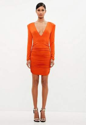 Missguided Orange Ruched Plunge Neck Midi Dress