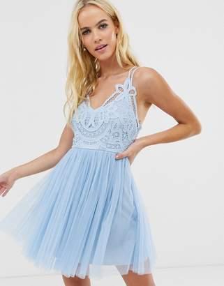 Asos Design DESIGN Premium lace top tulle cami mini dress