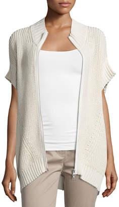 Pure Handknit Katherine Zip-Front Sweater Poncho