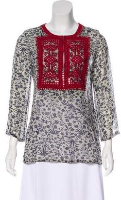 Figue Embroidered Silk Blouse