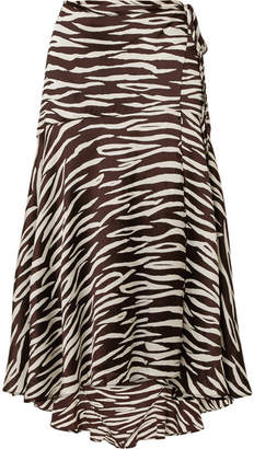 Ganni Blakely Zebra-print Stretch-silk Satin Wrap Skirt - Zebra print