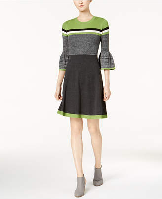 Jessica Howard Striped Bell-Sleeve Fit & Flare Sweater Dress