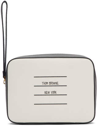 Thom Browne Black and White Dopp Kit Pouch