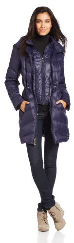 Ellen Tracy Outerwear Packable Down Coat with Cinched Waist