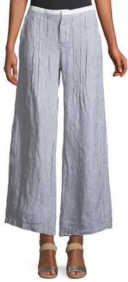 XCVI Ebba Pinstriped Linen Pants, Plus Size