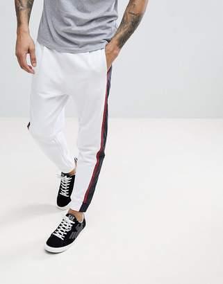 Armani Exchange Nylon Side Stripe Sweat Joggers In White