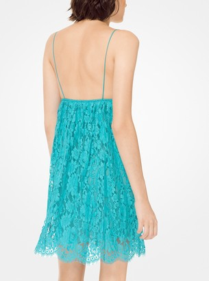 Michael Kors Crushed Floral Lace Babydoll Dress