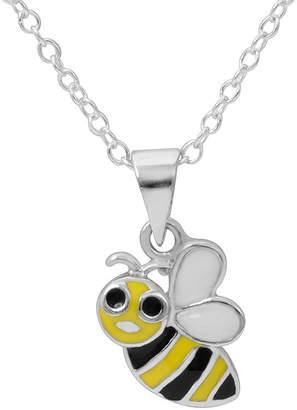 Hallmark Kids Sterling Silver Enamel Bee Pendant Necklace
