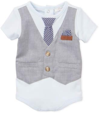 Miniclasix Newborn Boys) Grey Herringbone Faux Vest & Tie Bodysuit