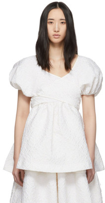 Cecilie Bahnsen White Puff Sleeve Angie Blouse