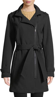 DKNY Removable Hood Asymmetric Zip-Front Soft-Shell Belted Coat