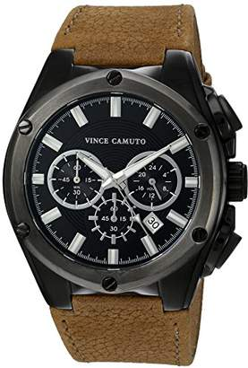 Vince Camuto Men's VC/1064BKBN Multi-Function Dial Brown Leather Strap Watch