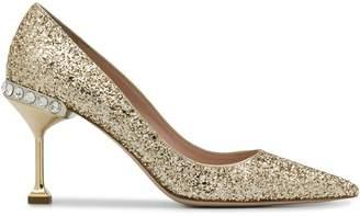 Miu Miu embellished glittered pumps