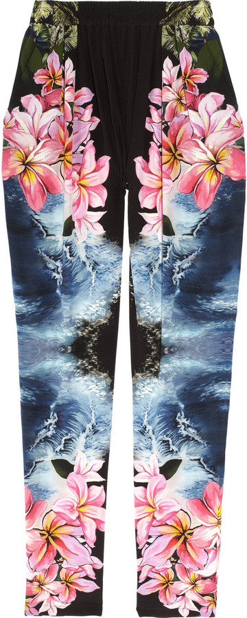 Stella McCartney Hawaiian-print silk tapered pants