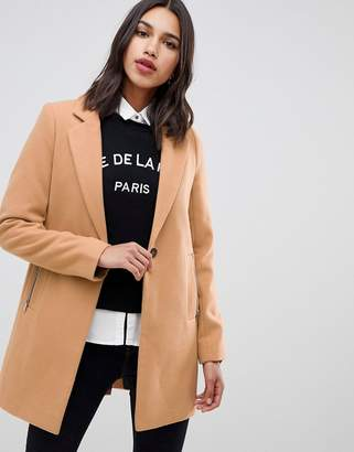 Asos DESIGN boyfriend coat with zip pocket