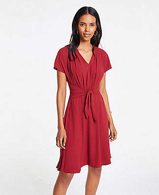 Ann Taylor Pleated Tie Front Flare Dress