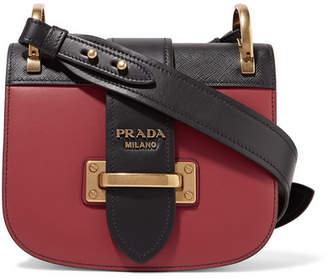 Prada Pionnière Two-tone Leather Shoulder Bag - Crimson