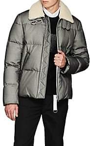 Helmut Lang Men's Shearling-Trimmed Tulle-Overlay Canvas Puffer Jacket - Black