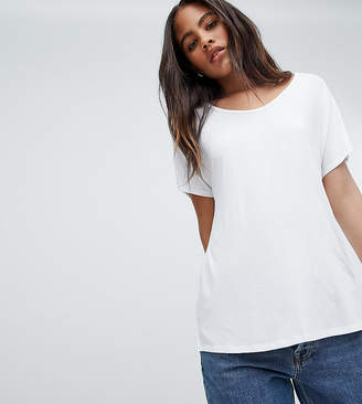 Asos Tall DESIGN Tall t-shirt with drapey batwing sleeve in white