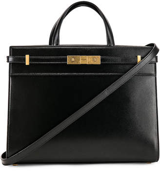 Saint Laurent Small Manhattan Shopping Tote Bag in Black | FWRD