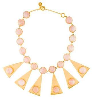 Tory Burch Rose Quartz Triangle Stone Collar Necklace