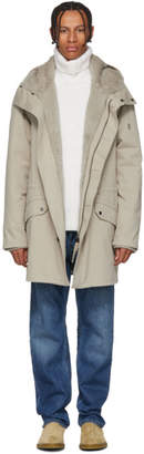 Yves Salomon Beige Cotton and Fur Parka