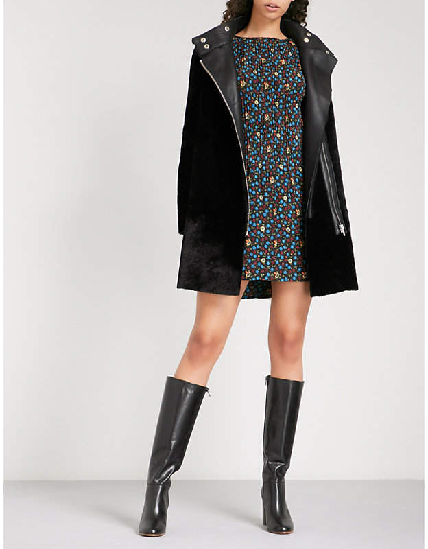 Ladies Black Draped Stylish Gibson Shearling Coat