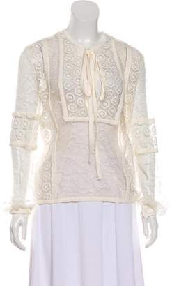 Elie Saab Silk-Trimmed Lace Tunic