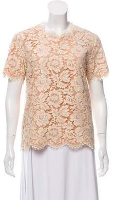 Stella McCartney Guipure Lace Short Sleeve Top