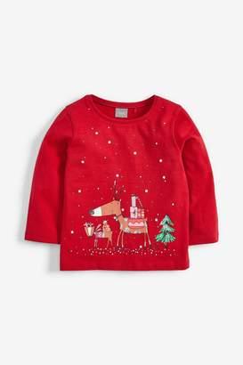 Next Girls Red Christmas Reindeer T-Shirt (3mths-7yrs) - Red