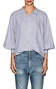 Nili Lotan Women's Claira Striped Cotton Poplin Shirt - White Blue Stripe