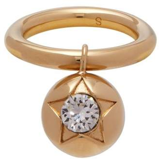 Burberry Crystal Embellished Sphere Ring - Womens - Gold