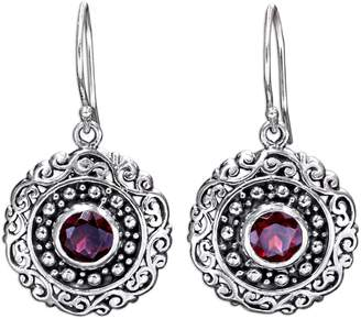 Novica Artisan Crafted Sterling Garnet Dangle Earrings