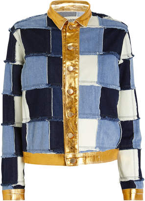 L'Agence Sly Foil Patchwork Denim Jacket