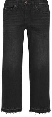 Simon Miller W005 Bora Cropped Frayed Mid-rise Wide-leg Jeans - Black