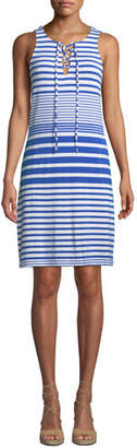 Tommy Bahama Beach Glass Striped Lace-Up Coverup Dress